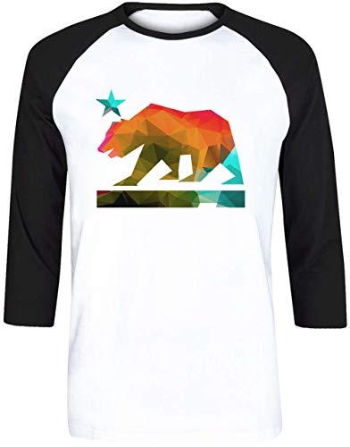Kalifornien Zustand Bär - Kalifornien Herren Weiß Schwarz Baseball T-Shirt 3/4 Ärmel Größe XXL | Men's White Black Baseball T-Shirt Size XXL -