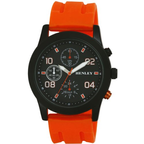 Henley Sports Men'- Armbanduhr Henley Gents Decorative Multi-Eye Analog Quarz Silikon Orange H02071.8 Strap