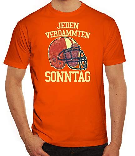 American Football Gruppen Fan Herren Männer T-Shirt Rundhals Jeden Verdammten Sonntag 2, Größe: 3XL,orange