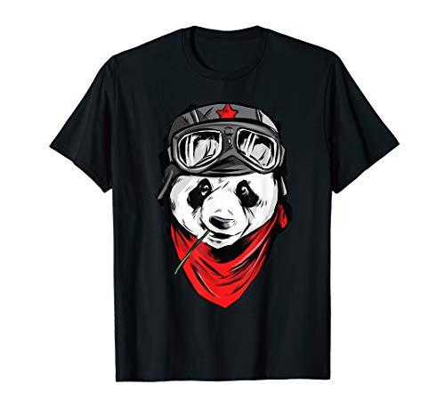 Cooles Biker Shirt Panda Bär On Road Damen Herren Kinder