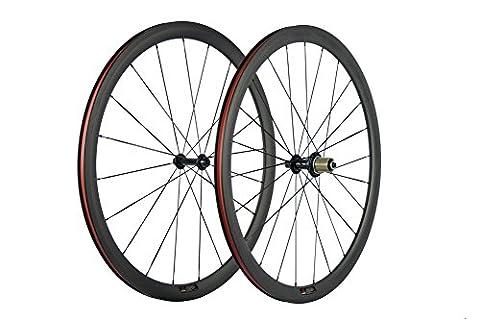 WINDBREAK BIKE 700c Carbon Road Bicycle Wheelset 38mm Clincher Tubeless Rim with 23mm Width