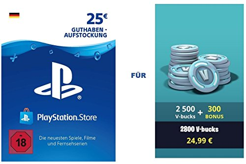 PSN Guthaben für Fortnite - 2.500 V-Bucks + 300 extra V-Bucks - 2.800 V-Bucks DLC | PS4 Download Code - deutsches Konto Galaxy Skin