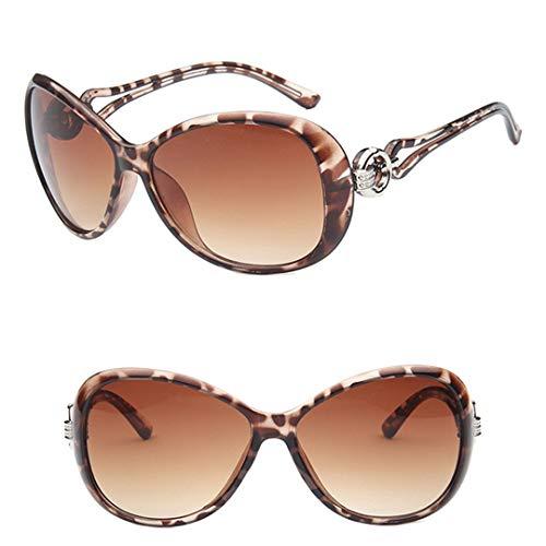 DAIYSNAFDN Klassische Gradient Sonnenbrille Damen Designer Vintage Übergroße Sonnenbrille Uv400 Leopard