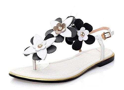 LDMB Estate delle donne sandali di cuoio casuali con la cartella piatta tacco in bianco (Genuino Nero Piastra)