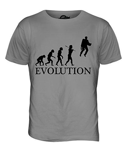 CandyMix Raketenrucksack Jetpack Evolution Des Menschen Herren T Shirt Hellgrau