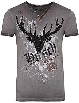 Hangowear Herren Herren Trachten T-Shirt mit Hirsch Grau, Grau,