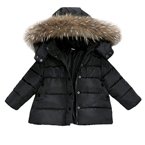 FeiliandaJJ Baby Mantel,Infant Toddler Mädchen Junge Winter Daunenjacke Kapuzenjacke Outwear Kinder Pelzkragen mit Reißverschluss Coat Warme Kleidung (110 (2~3Jahre), Schwarz)