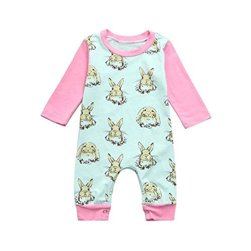 t Baby Jungen Mädchen Ostern Cartoon Kaninchen Print Strampler Overall Outfits (grün, 90) (Neues Outfit Für Mädchen)