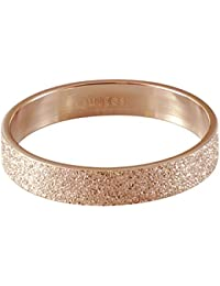 Quiges Stainless Steel Rose Gold Sand Stardust Sparkle Glitter Inner Ring 4mm Height for Stackable Ring Collection