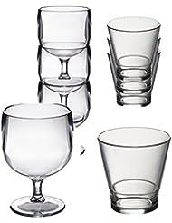 Conjunto especial de 12 Roltex plástico policarbonato, irrompible, gafas de apilamiento reutilizables. Apilamiento de 6 copas de vino, capacidad 220 ml y 6 vasos de jugo de whisky/apilamiento. Capacidad 250ml