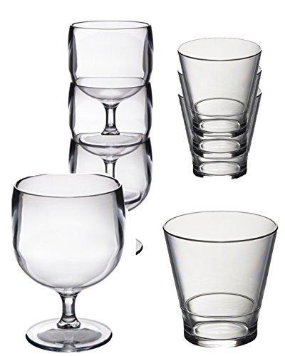 Speciale set 12 Roltex riutilizzabili impilabile in policarbonato infrangibile di bicchieri di plastica. 6 bicchieri di vino impilabile (220ml) 6 bicchieri whisky impilamento / succhi (250 ml) ottimo per il campeggio