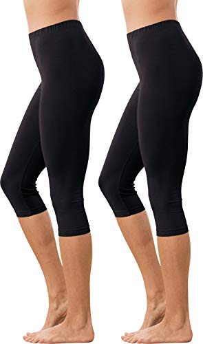 Erwin Müller Damen Capri-Leggings, Yogahose, Fitnesshose 2er-Pack Single-Jersey, schwarz/schwarz Größe 44/46 - elastische Qualität, abgesteppter Gummibund (weitere Farben)