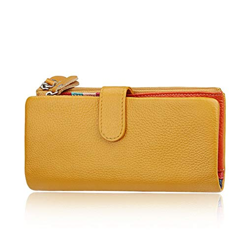 YLiansong Damen Geldbörse Frauen RFID Sperrung Große Kapazität Echtes Leder Clutch Wallet Card Holder Organizer Damen Geldbörse Geldbörse Clutch Bag (Farbe : Gelb)
