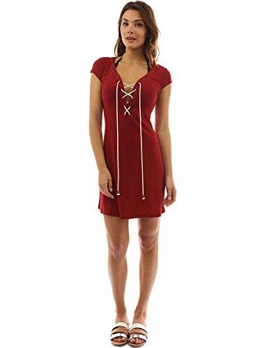 PattyBoutik femmes robe de plage à col V rehaussé d'un laçage sur le devant sans manches rouge foncé