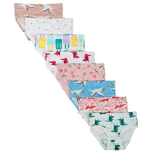 Kidear Bequeme Baumwollene Gemischte Kinder-Unterhosen für Kleine Mädschen. (Eine Packung von 8 Stücke) (Stil3, 4-5 Jahre)