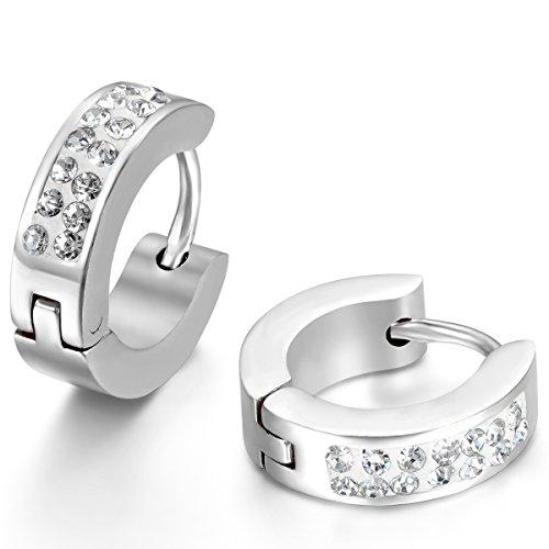JewelryWe Schmuck Herren Damen Ohrringe, Creolen Ohrstecker, Zirkonia Diamant Edelstahl, Silber