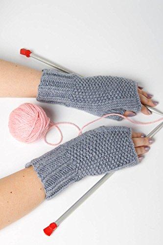 Guantes sin dedos hechos a mano grises accesorio de moda mitones a crochet