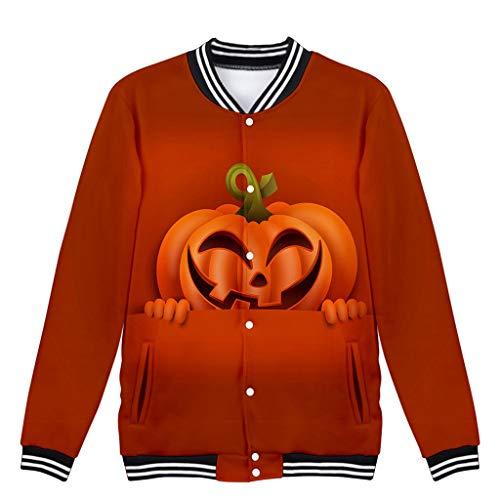 Supertong Damen Cardigan 2019 Neue Halloween Pullover Kostüm Grusel Trick Lustige Jacke Mode 3D-Druck Kürbiskopf Sweatshirt Jacke Halloween Mantel (Halloween-kostüme Männer 2019 Lustige Für)