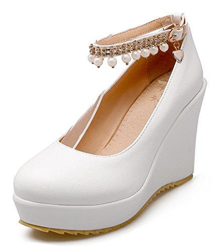 YE Damen 10cm Absatz Knöchelriemen High Heels Plateau Pumps mit Kailabsatz Perlen süß Bequem Schuhe Weiß
