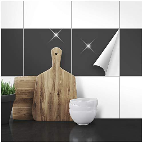 Wandkings Fliesenaufkleber - Wähle eine Farbe & Größe - Anthrazit Glänzend - 20 x 20 cm - 100 Stück für Fliesen in Küche, Bad & mehr