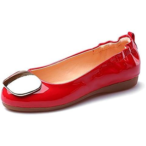 LYF KIU Rotonde Piselli scarpe suola morbida/piane della bocca poco profonda delle donne di colore solido del piede scarpe di vernice casuali