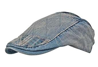b0f09474cae Itzu Men s Distressed Denim Wash Patchwork Check Adjustable Cotton ...
