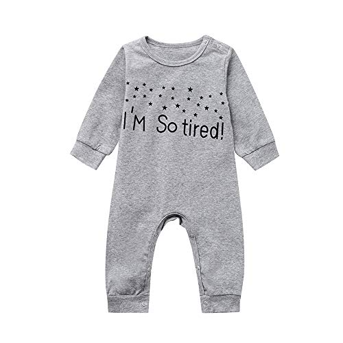 Anglewolf Baby Unisex Schlafstrampler Schlafsack mit Beinen und Ärmel Winter I'm so Tired Overall Neugeborenen Strampler Footed Jumpsuit 0-24 Monate(Grau,70)