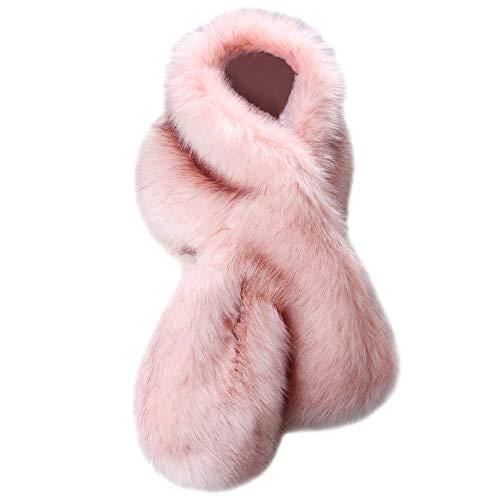 Caracilia Damen Winter Warm Faux Fox-Pelz-Schal Cwoollar Stwoole langer Schal-Schal Einheitsgröße Pink Schwarz 125cm