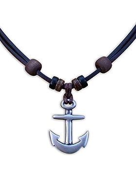HANA LIMA ® Halskette Anker Lederkette Surferhalskette Herrenhalskette Herrenkette Surferkette Damenkette