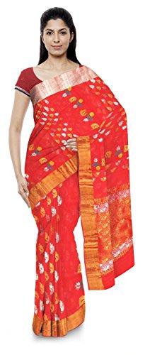 Akram Sarees Women's Kota Doria Handloom Cotton Silk Saree With Blouse Piece (Red)