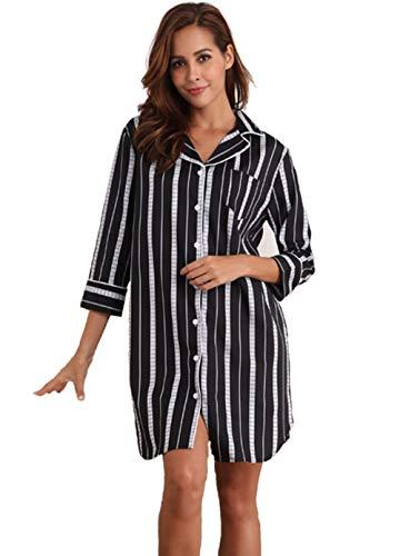 Memory baby sexy pigiama donna cotone camicia lunga in modale con maniche corte scollo v button down camicia da notte sleepwear(nero,l)