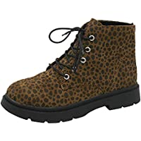Fuibo Damen Stiefel, Frauen Platz Heel Leopard Print Schuhe Martain Boot Warm Runde Schuhe halten | Stiefeletten Ankle Boots Schlupfstiefel Chelsea Boots