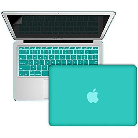 SlickBlue Macbook-Air-11 (A1465/A1370) recubierto de goma duro caja con Claro EU cubierta del teclado y protector de pantalla - Azul