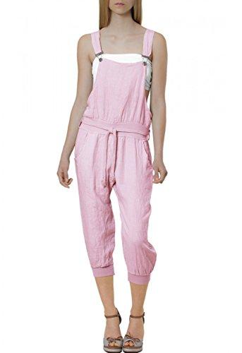 CASPAR Damen leichte Casual Leinen Sommer Hose / Latzhose / Jumpsuit - viele Farben - KHS005, Farbe:flieder;Größe:38 M UK10 US8
