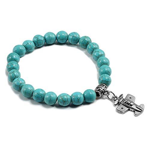 YCWDCS Armband Boho Vintage Blau Türkis Perlen Armband Charme Frauen Kreuz Eule Splitter Schlüsselanhänger Paar Strang Armband Armreif Männer Schmuck