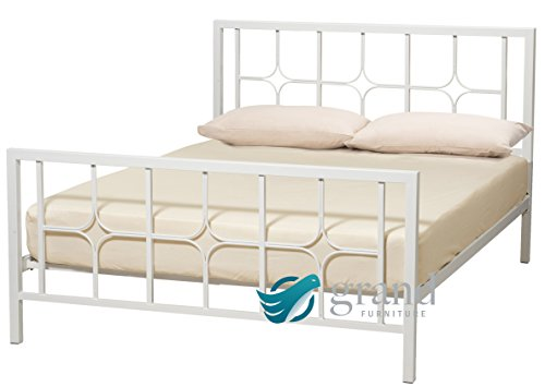 Contemporary Manhattan White Metal Bed Frame Chunky Modern 3FT Single 4FT 4FT6 Small Double 5FT King Size Bedstead (5FT King Size)