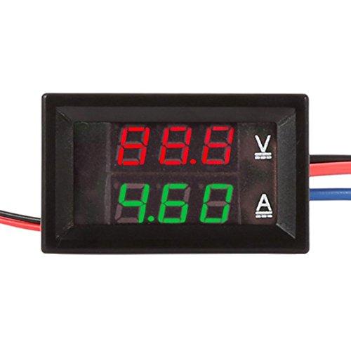 Balai DC Ammeter Voltmeter 0-100V 12A Red Blue LED Ampere Voltage Panel for Car/Motor