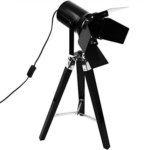 Grundig Stativlampe mit Scheinwerfer E27 H65cm Stehlampe Dreibeinlampe Dreibein Tripod Tripodlampe Stehleuchte Studioleuchte Studiolampe Stativleuchte Stativ Studio Lampe - Schwarz