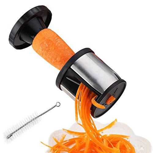 Grattugia per verdure affettaverdure acciaio inossidabile handheld spirale affettatrice cutter manuale per patate carota cetriolo, fruit zucchini pasta noodle spaghetti maker, piccolo, facile da pulire, con spazzola di pulizia.