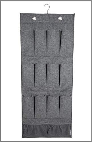 Bigso Box of Sweden Hängeorganizer mit 12 Fächern für Schuhe, Accessoires, Spielzeug usw. - stilvolles Hängeregal für die Tür oder Wand - Tür Organizer aus Polyester und Karton - grau -