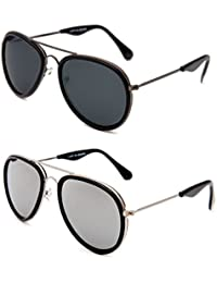 TheWhoop Combo UV Protected New Stylish Mirror Silver And Black Aviator Goggle Sunglasses For Men , Women , Girls...