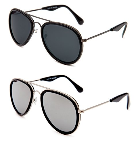 TheWhoop Combo UV Protected New Stylish Mirror Silver And Black Aviator Goggle Sunglasses For Men, Women, Girls, Boys