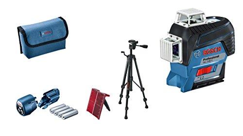 Bosch Professional Linienlaser GLL 3-80 C mit Stativ BT 150 (4x AA Batterien, 12 Volt, Arbeitsbereich mit Empfänger: 120 m, Zubehör Set, in Schutztasche)