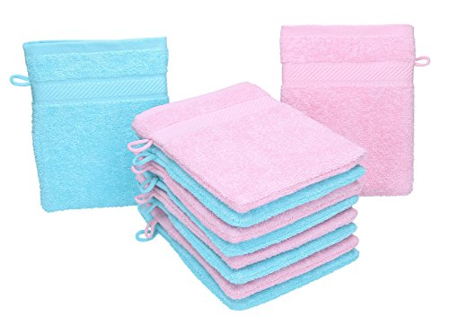 BETZ Lot de 10 gants de toilette PALERMO 100% coton taille 16x21 cm couleur: rose & turquoise