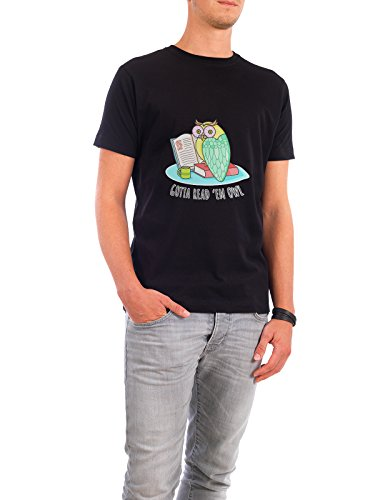 """Design T-Shirt Männer Continental Cotton """"Reading Owl"""" - stylisches Shirt Tiere von Cristina Castro Moral Schwarz"""