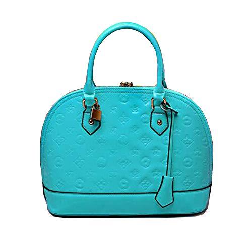 Yan Show Damen Art und Weise Schulter Beutel Drucken Beutel Lackleder Handtaschen Shell Paket (Blauer See)