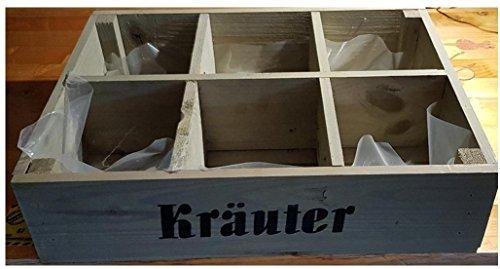 """Pflanzkasten\""""Kräuter\"""" Holz grün 40x30x10 cm - 6-fach unterteilt"""