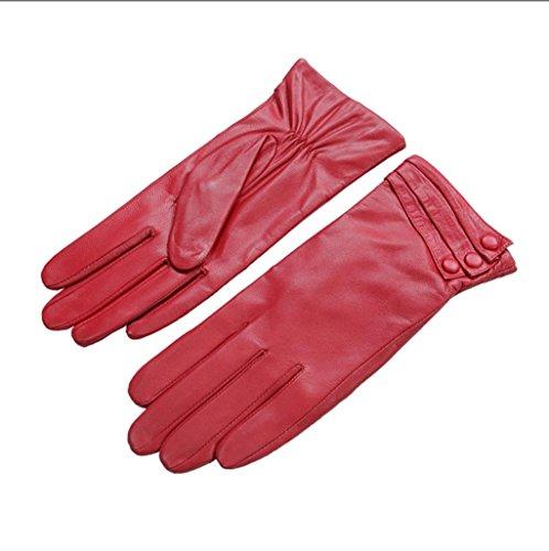 GQQgloves Gants en peau de mouton en cuir pour femme, simples et généreux red