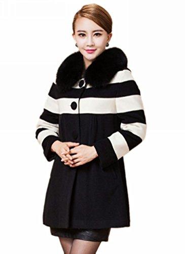 queenshiny Damen Wolle Wollmischung Lange mantel Jacken Mit Echte Fuchs Pelz Kragen Weiß