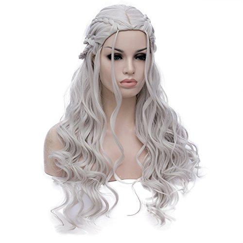 Game of Thrones Cosplay Perücke Damen Daenerys Targaryen Zöpfen Geflochten Lang Locken wellig Perücken gewellt Haar Wig - Khaleesi Kostüm Weiß